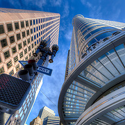 Looking up at the skyscrapers at the intersection of Post and Stockton Streets in San Francisco.
