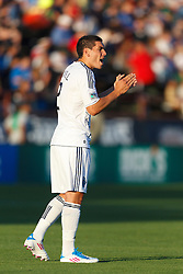 July 20, 2011; Santa Clara, CA, USA;  Vancouver Whitecaps defender Michael Boxall (2) encourages his team during the first half against the San Jose Earthquakes at Buck Shaw Stadium. San Jose tied Vancouver 2-2.