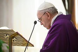 Pope Francis celebrates a mass in Saint Marta at the Vatican