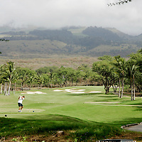 Maui, HI, U.S.A.Makena Resort, South Course.17th tee box, a 381 yard par 4 hole. <br />