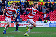 Goal Kieran Sadlier of Doncaster Rovers Celebrate as he makes it 2-1 during the EFL Sky Bet League 1 match between Doncaster Rovers and Wycombe Wanderers at the Keepmoat Stadium, Doncaster, England on 29 February 2020.