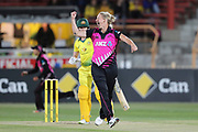 Sophie Devine celebrates taking the wicket of Elyse Villani. Women's T20 international Cricket , Australia v New Zealand White Ferns. North Sydney Oval, Sydney, NSW, Australia. 29 September 2018. Copyright Image: David Neilson / www.photosport.nz