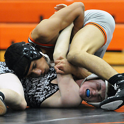 TOM KELLY IV &mdash; DAILY TIMES<br /> Marple Newtown's Zak Elfernani wrestles Strath Haven's Tommy Zeigler during the 120 lb match during the Strath Haven at Marple Newtown wresting match, on Wednesday December 17, 2014.
