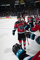 KELOWNA, CANADA - OCTOBER 28: Kole Lind #16 of the Kelowna Rockets celebrates a second period goal against the Prince George Cougars on October 28, 2017 at Prospera Place in Kelowna, British Columbia, Canada.  (Photo by Marissa Baecker/Shoot the Breeze)  *** Local Caption ***