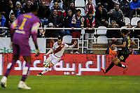 Rayo Vallecano´s Tito and Malaga CF´s goalkeeper Idriss Carlos Kameni and Miguel Torres Gomez during 2014-15 La Liga match between Rayo Vallecano and Malaga CF at Rayo Vallecano stadium in Madrid, Spain. March 21, 2015. (ALTERPHOTOS/Luis Fernandez)