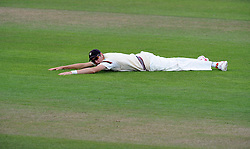 Dejection for Somerset's Craig Overton - Photo mandatory by-line: Harry Trump/JMP - Mobile: 07966 386802 - 05/07/15 - SPORT - CRICKET - LVCC - County Championship Division One - Somerset v Sussex- The County Ground, Taunton, England.