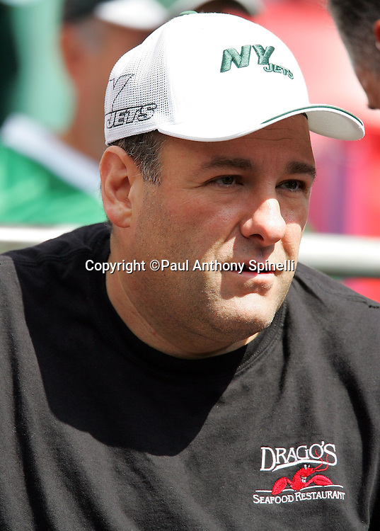EAST RUTHERFORD, NJ - OCTOBER 1:  Actor James Gandolfini, who plays Tony Soprano on the HBO cable television series The Sopranos, attends the New York Jets game against the Indianapolis Colts at the Meadowlands on October 1, 2006 in East Rutherford, New Jersey. The Colts defeated the Jets 31-28. ©Paul Anthony Spinelli *** Local Caption *** James Gandolfini