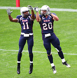 08.07.2011, Tivoli Stadion, Innsbruck, AUT, American Football WM 2011, Group A, United States of America (USA) vs Australia (AUS), im Bild Micah Brown (USA, #11, QB) and Taylor Malm (USA, #20, RB) celebrating after a touchdown // during the American Football World Championship 2011 Group A game, USA vs Australia, at Tivoli Stadion, Innsbruck, 2011-07-08, EXPA Pictures © 2011, PhotoCredit: EXPA/ T. Haumer