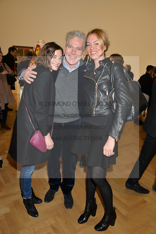 Left to right, EMMA JEFFERSON, MATTHEW HORTON and KATIE MORGAN-JONES at the opening private view of 'A Strong Sweet Smell of Incense - A portrait of Robert Fraser, held at the Pace Gallery, Burlington Gardens, London on 5th February 2015.