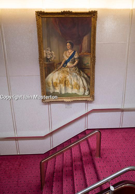 Portrait of Queen Elizabeth inside  Queen Elizabeth 2 former ocean liner now reopened as hotel in Dubai , United Arab Emirates