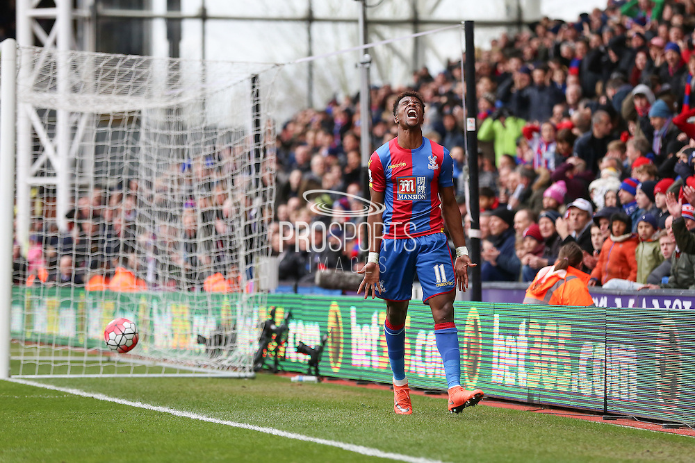 Wilfried Zaha (11) of Crystal Palace misses a chance during the Barclays Premier League match between Crystal Palace and Leicester City at Selhurst Park, London, England on 19 March 2016. Photo by Phil Duncan.