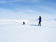 Crosscountry skiing in the high mountains of Tydal in Norway.