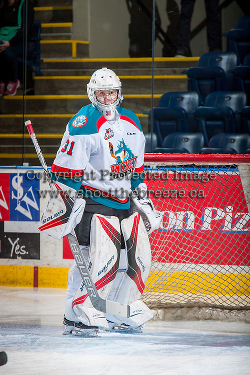 KELOWNA, CANADA - FEBRUARY 22: Brodan Salmond #31 of the Kelowna Rockets stands in net during warm up against the Edmonton Oil Kings on February 22, 2017 at Prospera Place in Kelowna, British Columbia, Canada.  (Photo by Marissa Baecker/Shoot the Breeze)  *** Local Caption ***