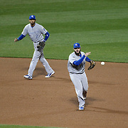 Mike Moustakas, Kansas City Royals, in action at third base during the New York Mets Vs Kansas City Royals, Game 5 of the MLB World Series at Citi Field, Queens, New York. USA. 1st November 2015. Photo Tim Clayton