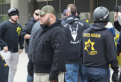 May 6, 2017 - Toronto, Ontario, Canada - Rally against Islam, Muslims, and Sharia Law in downtown Toronto, Ontario, Canada, on May 06, 2017. Groups such as the Concerned Coalition of Canadian Citizens, the Soldiers of Odin, and the Jewish Defense League rallied to protest against Islam, Muslims, and Sharia Law. The groups blame Muslims and 'Sharia Law' for unemployment, austerity and social cuts. (Credit Image: © Creative Touch Imaging Ltd/NurPhoto via ZUMA Press)