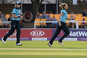 Katherine Brunt bowling during the Royal London Women's One Day International match between England Women Cricket and Australia at the Fischer County Ground, Grace Road, Leicester, United Kingdom on 4 July 2019.