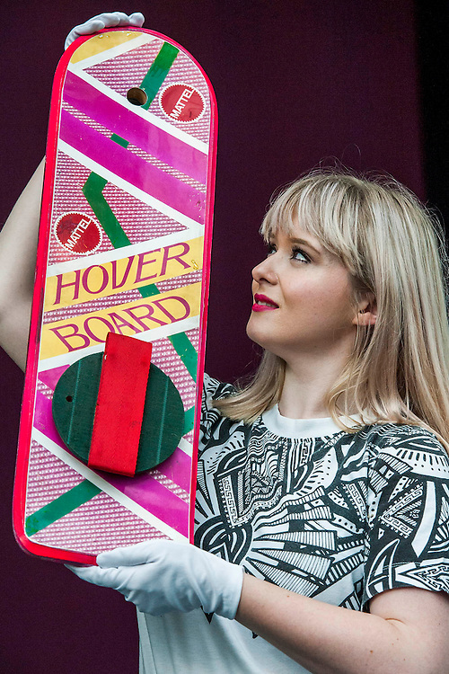 Marty McFly'sl Hoverboard - A collection of contemporary movie props, memorabilia and costumes to be auctioned on 16 October. It will include 375 items collected over 10 years and potentially worth more than £1 million. Highlights include:  Back to the Future: Part II -  Marty McFly's (Michael J. Fox) Mattel Hoverboard (estimated at £14,000 - £18,000); Willy Wonka and the Chocolate Factory - Wonka's (Gene Wilder) Golden Ticket (£15,000 - £20,000); Batman Forever – Remote control Batmobile model miniature (£20,000 - £30,000); Rush - 'Niki Lauda's (Daniel Brϋhl) Prop Ferrari 312T2 Formula One Car (£20,000 - £30,000); memorabiliaStar Wars: Return of the Jedi - Biker Scout helmet (£8,000-£10,000); and The Shining - Jack and Wendy's (Jack Nicholson & Shelly Duvall) Overlook Hotel Bed (£4,000-£6,000).