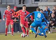 FODBOLD: Mikkel Basse (FC Helsingør) presses af Mathias Pedersen (Thisted FC) under kampen i NordicBet Ligaen mellem Thisted FC og FC Helsingør den 3. marts 2019 på Sparekassen Thy Arena i Thisted. Foto: Claus Birch