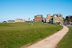 View of the green on the 17th hole or Road Hole on the  Old Course in St Andrews, Fife, Scotland, UK.
