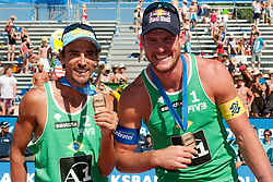 Third place for Brazil, Alison Conte Cerutti and Emanuel Rego, at A1 Beach Volleyball Grand Slam tournament of Swatch FIVB World Tour 2010, final, on August 1, 2010 in Klagenfurt, Austria. (Photo by Matic Klansek Velej / Sportida)