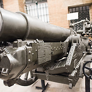 LISBON, Portugal - A British 6-inch howitzer ML/1/L-Vickers from World War I in France. Housed in the old armoury, Lisbon's Military Museum showcases 500 years of Portuguese military history, with many of the exhibits in opulently decorated rooms of the historic building.