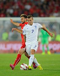 England's Jack Wilshere (Arsenal) battles for the ball - Photo mandatory by-line: Joe Meredith/JMP - Mobile: 07966 386802 - 08/09/14 - SPORT - FOOTBALL - Switzerland - Basel - St Jacob Park - Switzerland v England - Uefa Euro 2016 Group E Qualifier
