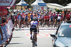 Race leader Leah Kirchmann (CAN) of Team Sunweb rolls to the start of Stage 2 of the Madrid Challenge - a 100.3 km road race, starting and finishing in Madrid on September 16, 2018, in Spain. (Photo by Balint Hamvas/Velofocus.com)