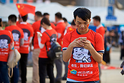 NANNING, CHINA - Thursday, March 22, 2018: Chinese supporters before the opening match of the 2018 Gree China Cup International Football Championship between China and Wales at the Guangxi Sports Centre. (Pic by David Rawcliffe/Propaganda)