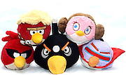 Angry Birds stuffed dolls on white background