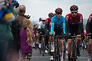 Owain Doull & current leader Chris Lawless of Team Ineos in the peloton upto the KOM summit of Cote De Goose Eye during stage four of the Tour de Yorkshire from Halifax to Leeds, , United Kingdom on 4 May 2019.