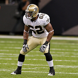 2009 August 14: New Orleans Saints linebacker Jonathan Casillas (62) on the field during 17-7 win by the New Orleans Saints over the Cincinnati Bengals in their preseason opener at the Louisiana Superdome in New Orleans, Louisiana.