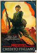 World War I Italian government poster for War Loan, 1917. Against a scene of battle and explosions a soldier holding a rifle looks straight out of picture pointing at the viewer.