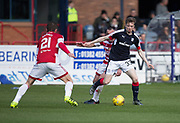 Dundee&rsquo;s Craig Wighton takes on Hamilton&rsquo;s Darian MacKinnon and Massimo Donati - Dundee v Hamilton Academical in the Ladbrokes Scottish Premiership at Dens Park, Dundee, Photo: David Young<br /> <br />  - &copy; David Young - www.davidyoungphoto.co.uk - email: davidyoungphoto@gmail.com