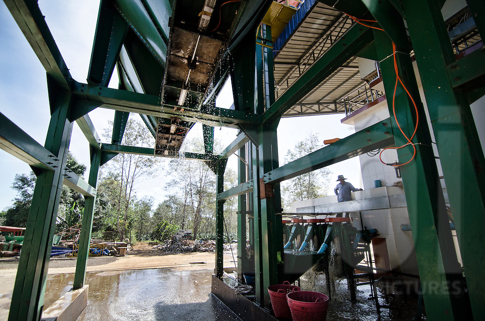 Coffee factory in Paksong, Laos, Asia. Water evacuation after washing process.