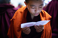 "Morning puja (buddhist ritual), mostly they celebrate Tara, a female deity, and Guru Rinpoche, ""the Precious Master"" who spread Buddhism to Himalayan areas such as Tibet and Bhutan - Dolma Ling nunnery, Dharamsala, India, 2012"