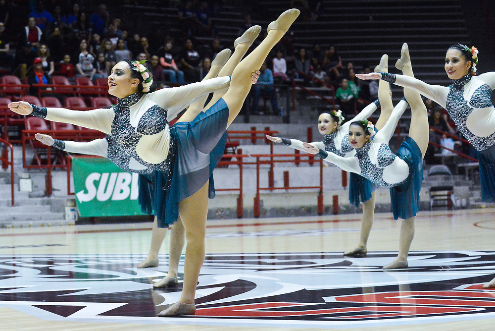 Valley High's dance team, including Mariana Medina, front left, perform their class 6A first place routine during the State Spirit Championships at The Pit in Albuquerque, N.M., Saturday, March 25, 2017. (Marla Brose/Albuquerque Journal)