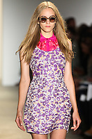 A model walks the runway wearing Peter Som Spring 2011 collection during Mercedes-Benz Fashion Week in New York on September 10, 2010