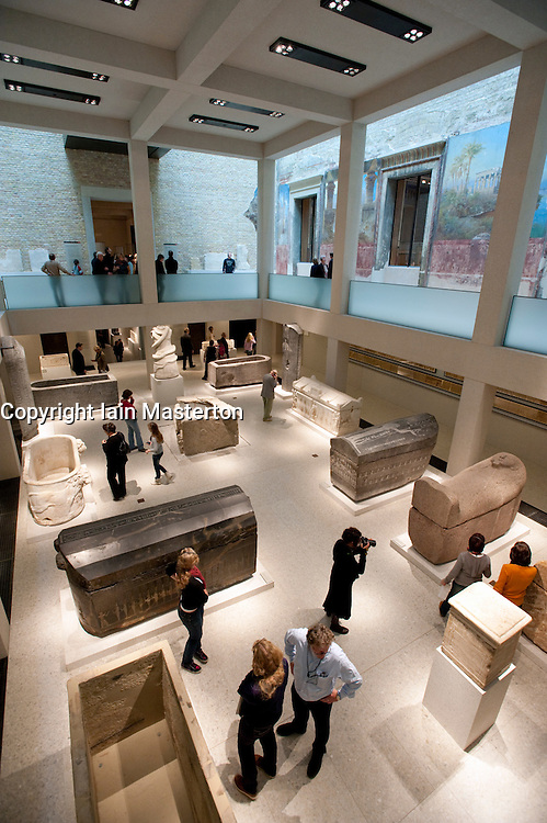 Interior of Egyptian courtyard at Neues Museum or New Museum on Museumsinsel or Museum Island in Berlin