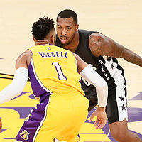 15 November 2016: Brooklyn Nets guard Sean Kilpatrick (6) defends on Los Angeles Lakers guard D'Angelo Russell (1) during the LA Lakers 125-118 victory over the Brooklyn Nets, at the Staples Center, Los Angeles, California, USA.