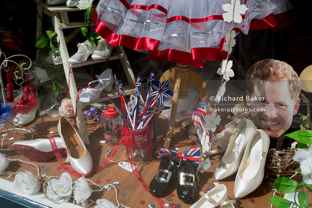 A week before the royal wedding between Prince Harry and Meghan Markle, the face mask of Harry appears in a ballet accessories shop, on 13th May, in Herne Hill, London, England.