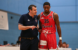 Bristol Flyers head coach Andreas Kapoulas and Fred Thomas talk tactics - Photo mandatory by-line: Arron Gent/JMP - 28/04/2019 - BASKETBALL - Surrey Sports Park - Guildford, England - Surrey Scorchers v Bristol Flyers - British Basketball League Championship