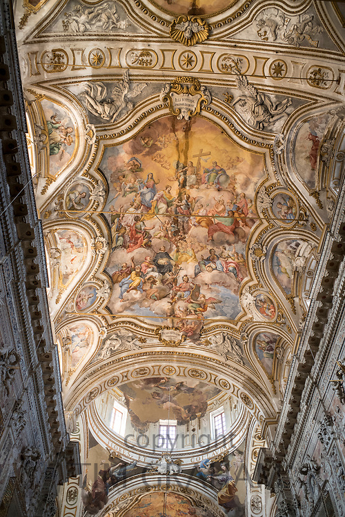Ornate ceiling and domes in Church and Convent of Saint Catherine (Santa Caterina)  in Piazza Bellini Piazza Pretoria, Palermo, Sicily