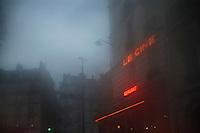 France Paris misty street at dusk