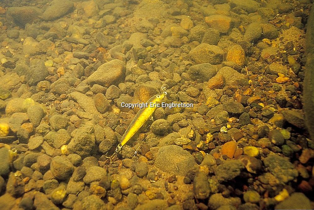 Underwater Scene-Fishing Lure on Rocky Lake Bottom<br /> <br /> ENGBRETSON UNDERWATER PHOTO