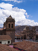 View over the Plaza de Armas, Cusco, Peru, with the Iglesia de la Compañía de Jesus and the Cathedral Basilica of the Assumption of the Virgin in the view.