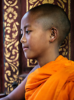 KYAING TONG, MYANMAR - CIRCA DECEMBER 2017: Portrait of young Monk at the Wat Jong Kham Monastery.