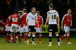 Luke Ayling of Bristol City looks angered with referee A. Haines after Jamie Ness of Crewe Alexandra scores a goal to make it 1-0 - Photo mandatory by-line: Rogan Thomson/JMP - 07966 386802 - 20/12/2014 - SPORT - FOOTBALL - Crewe, England - Alexandra Stadium - Crewe Alexandra v Bristol City - Sky Bet League 1.