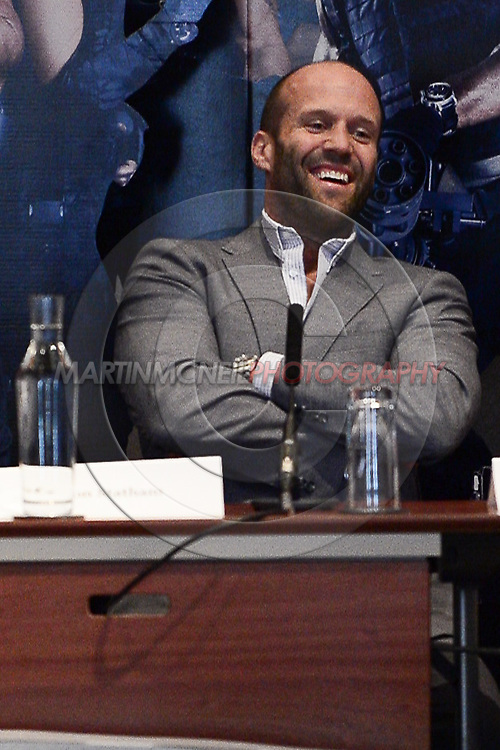 """LONDON, ENGLAND, AUGUST 4, 2014: Jason Stathm during the press conference ahead of the world premier of """"Expendables 3"""" inside the Corinthia hotel in London(© Martin McNeil)"""