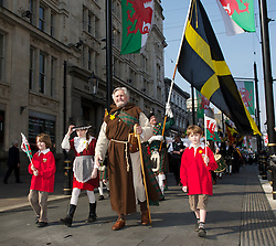 CARDIFF, WALES - Thursday, March 1, 2012: St. David walks through the streets of Cardiff during the 10th St. David's Day Parade. (Pic by David Rawcliffe/Propaganda)