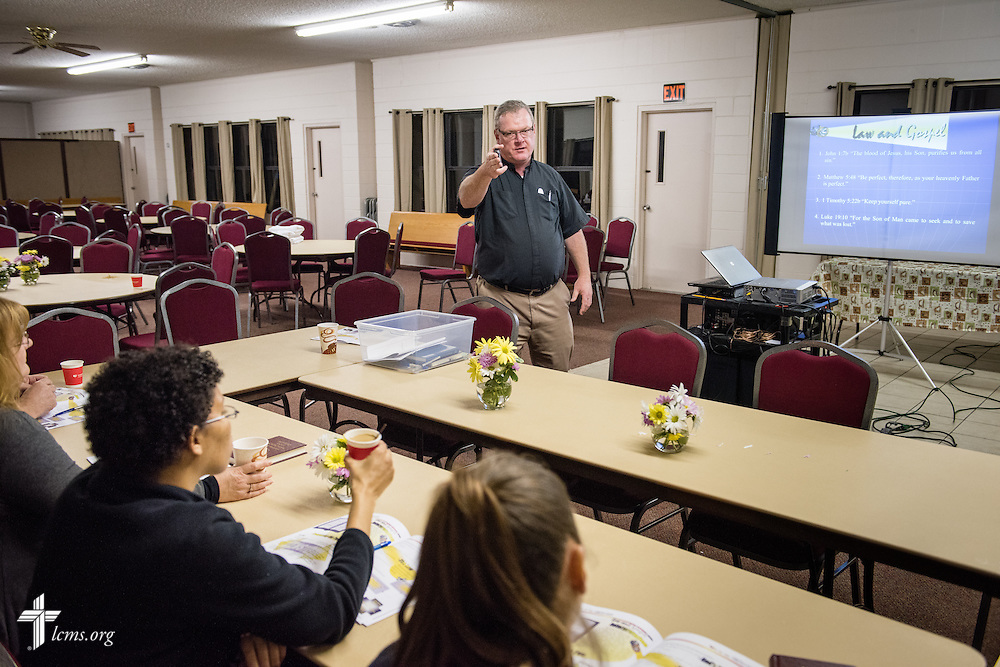 The Rev. Edward DeWitt teaches class at Lutheran Church of the Redeemer on Thursday, Feb. 12, 2015, in Sanford, Fla. Jenny (second from left), a resident of Redeeming Life Maternity Home, listens. LCMS Communications/Erik M. Lunsford